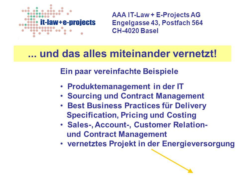 AAA IT-Law + E-Projects AG Engelgasse 43, Postfach 564 CH-4020 Basel Ein paar vereinfachte Beispiele Produktemanagement in der IT Sourcing und Contrac