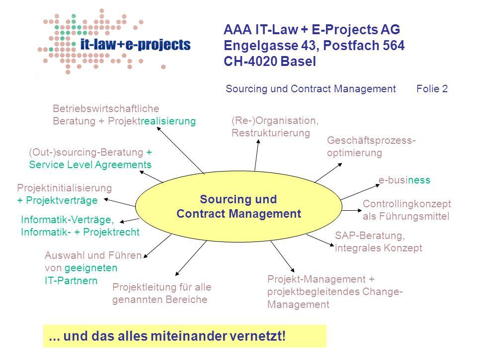 AAA IT-Law + E-Projects AG Engelgasse 43, Postfach 564 CH-4020 Basel Sourcing und Contract Management Betriebswirtschaftliche Beratung + Projektrealis