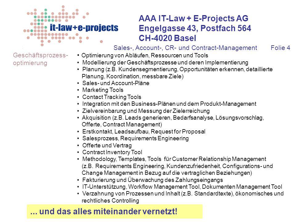 AAA IT-Law + E-Projects AG Engelgasse 43, Postfach 564 CH-4020 Basel Geschäftsprozess- optimierung... und das alles miteinander vernetzt! Optimierung