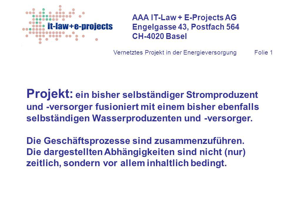 AAA IT-Law + E-Projects AG Engelgasse 43, Postfach 564 CH-4020 Basel Vernetztes Projekt in der EnergieversorgungFolie 1 Projekt: ein bisher selbständi