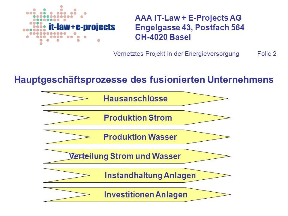 AAA IT-Law + E-Projects AG Engelgasse 43, Postfach 564 CH-4020 Basel Vernetztes Projekt in der EnergieversorgungFolie 2 Hauptgeschäftsprozesse des fus