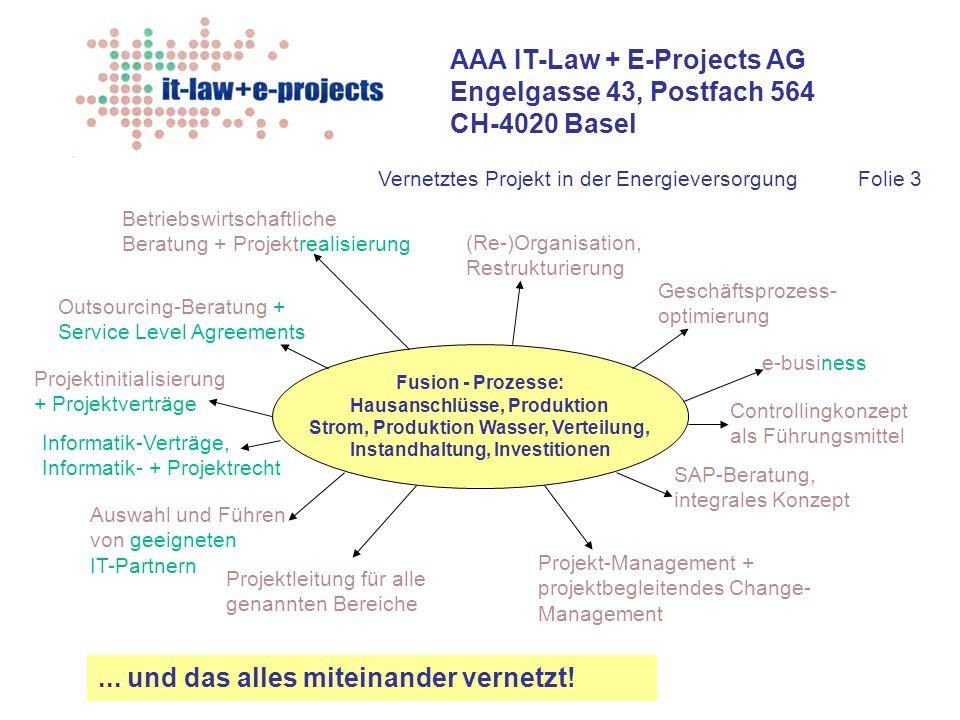 AAA IT-Law + E-Projects AG Engelgasse 43, Postfach 564 CH-4020 Basel Fusion - Prozesse: Hausanschlüsse, Produktion Strom, Produktion Wasser, Verteilun