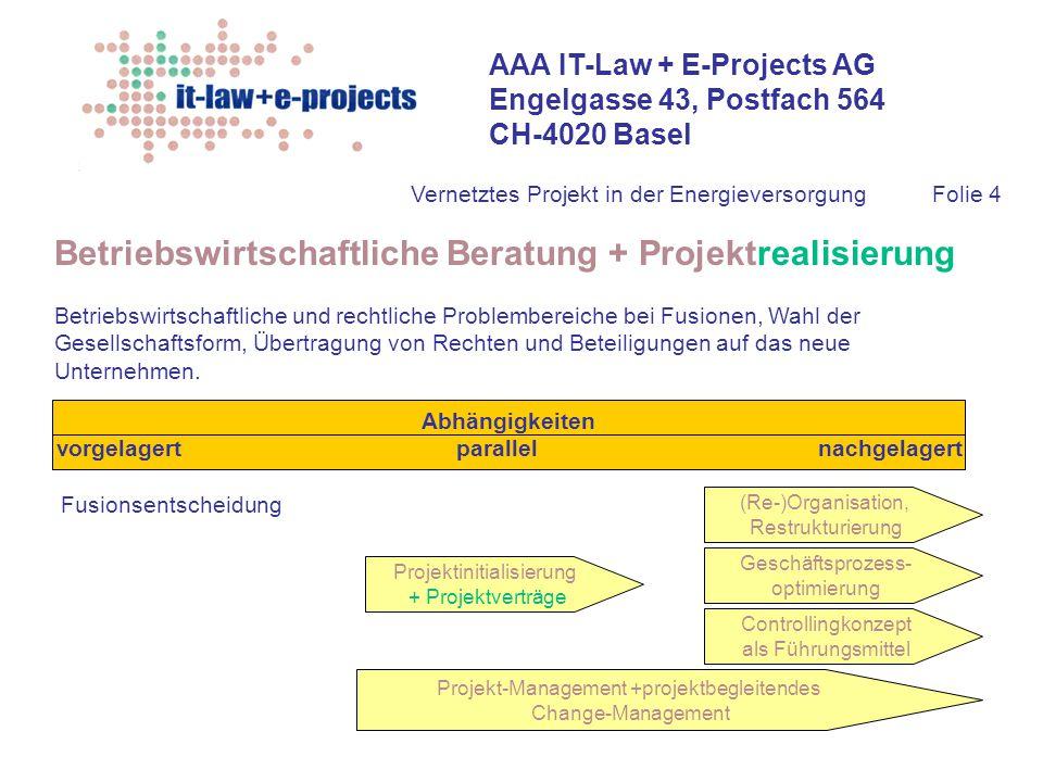 AAA IT-Law + E-Projects AG Engelgasse 43, Postfach 564 CH-4020 Basel Vernetztes Projekt in der EnergieversorgungFolie 4 Betriebswirtschaftliche Beratu