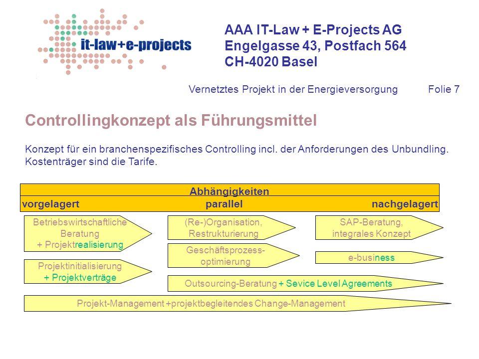 AAA IT-Law + E-Projects AG Engelgasse 43, Postfach 564 CH-4020 Basel Vernetztes Projekt in der EnergieversorgungFolie 7 Controllingkonzept als Führung