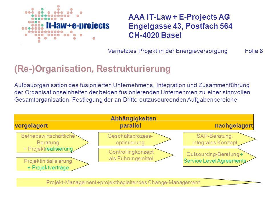 AAA IT-Law + E-Projects AG Engelgasse 43, Postfach 564 CH-4020 Basel Vernetztes Projekt in der EnergieversorgungFolie 8 (Re-)Organisation, Restrukturi