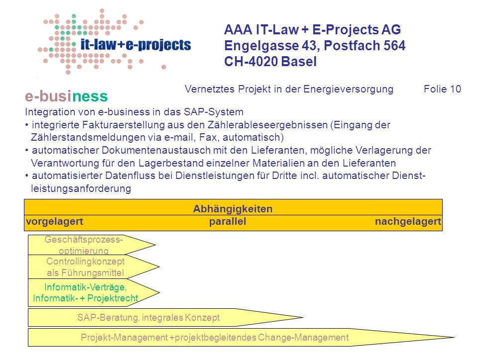 AAA IT-Law + E-Projects AG Engelgasse 43, Postfach 564 CH-4020 Basel Vernetztes Projekt in der EnergieversorgungFolie 10 e-business Integration von e-