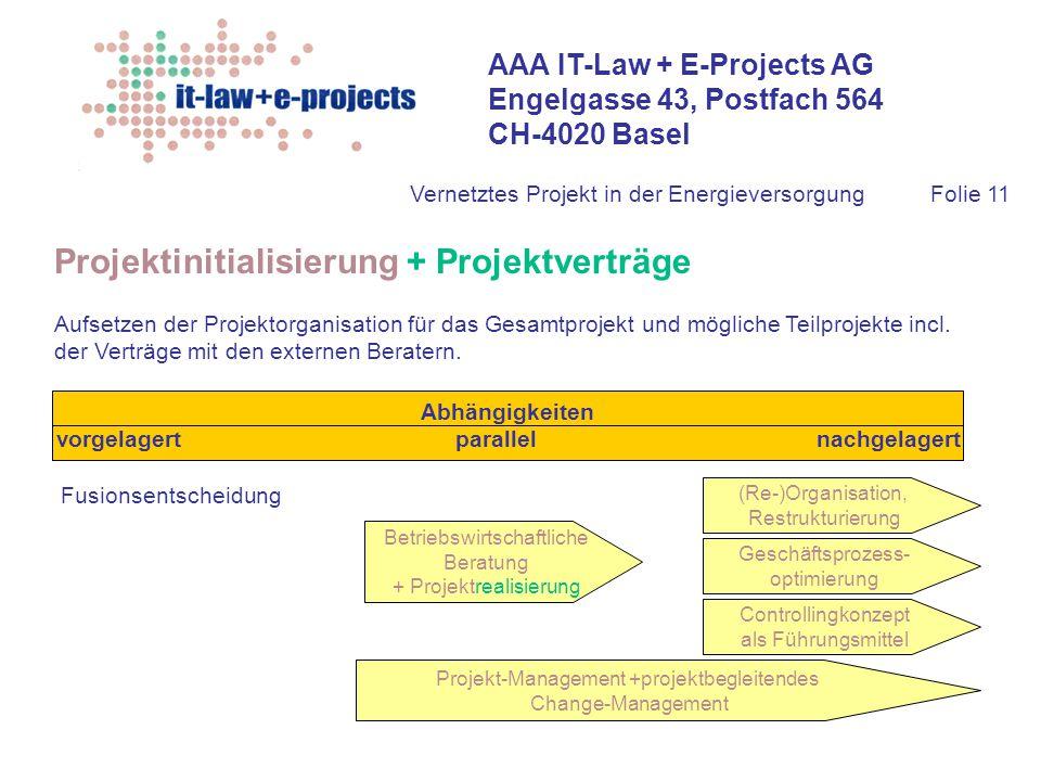 AAA IT-Law + E-Projects AG Engelgasse 43, Postfach 564 CH-4020 Basel Vernetztes Projekt in der EnergieversorgungFolie 11 Projektinitialisierung + Proj