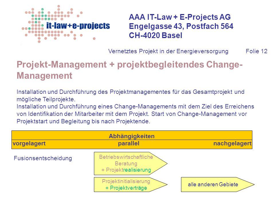 AAA IT-Law + E-Projects AG Engelgasse 43, Postfach 564 CH-4020 Basel Vernetztes Projekt in der EnergieversorgungFolie 12 Projekt-Management + projektb