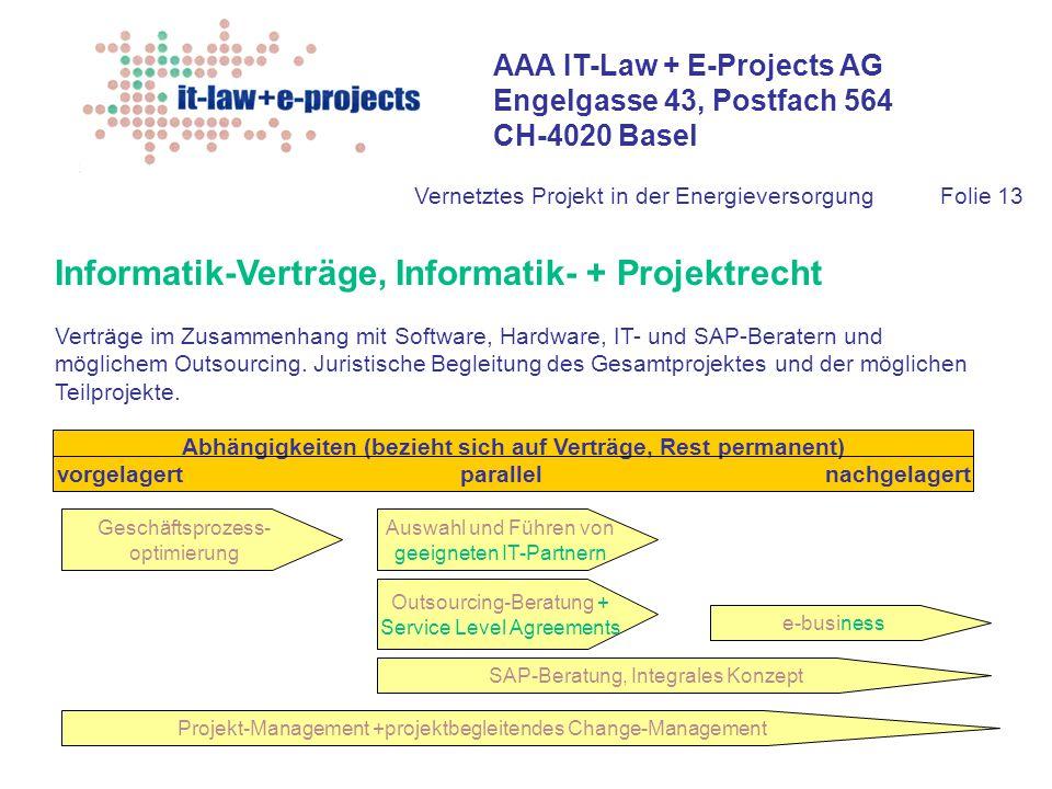 AAA IT-Law + E-Projects AG Engelgasse 43, Postfach 564 CH-4020 Basel Vernetztes Projekt in der EnergieversorgungFolie 13 Informatik-Verträge, Informat