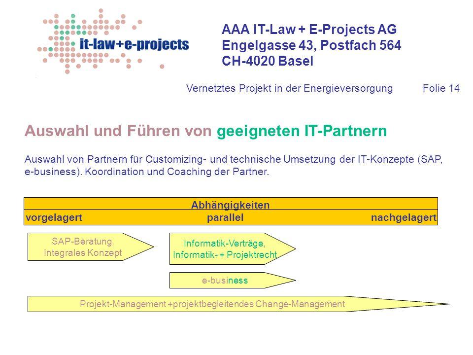 AAA IT-Law + E-Projects AG Engelgasse 43, Postfach 564 CH-4020 Basel Vernetztes Projekt in der EnergieversorgungFolie 14 Auswahl und Führen von geeign