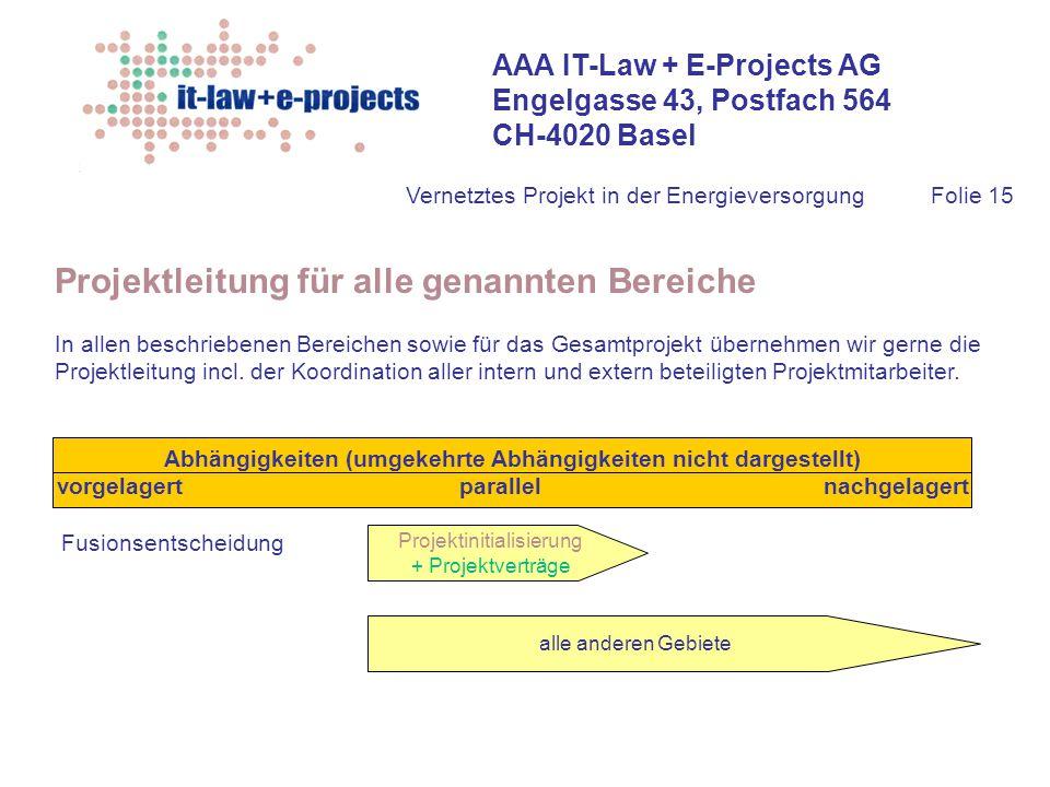 AAA IT-Law + E-Projects AG Engelgasse 43, Postfach 564 CH-4020 Basel Vernetztes Projekt in der EnergieversorgungFolie 15 Projektleitung für alle genan
