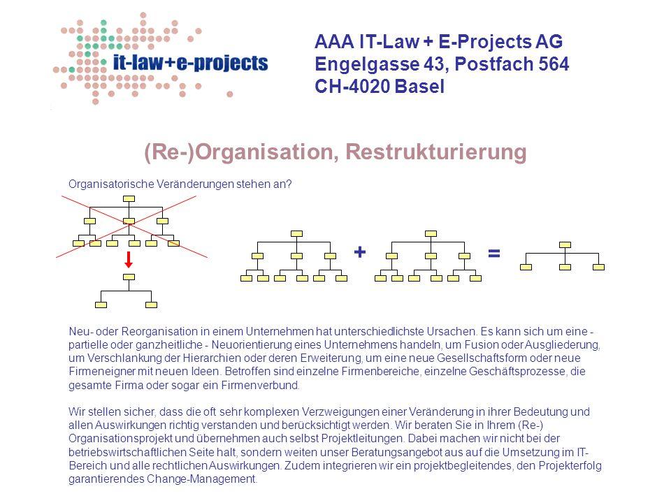 AAA IT-Law + E-Projects AG Engelgasse 43, Postfach 564 CH-4020 Basel Betriebswirtschaftliche Beratung + Projektrealisierung Projektinitialisierung + Projektverträge Projekt-Management + projektbegleitendes Change- Management...