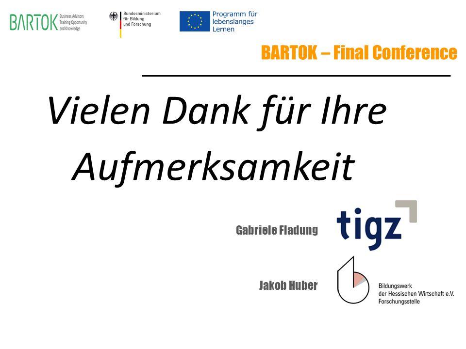 BARTOK – Final Conference Vielen Dank für Ihre Aufmerksamkeit ________________________________________________ Gabriele Fladung Jakob Huber