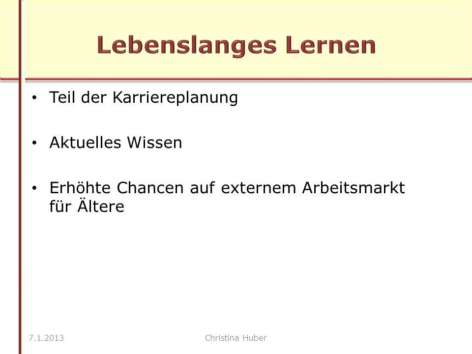 Teil der Karriereplanung Aktuelles Wissen Erhöhte Chancen auf externem Arbeitsmarkt für Ältere 7.1.2013Christina Huber