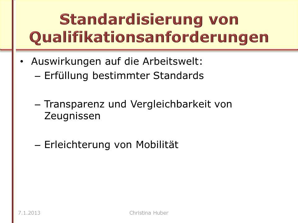 Auswirkungen auf die Arbeitswelt: – Erfüllung bestimmter Standards – Transparenz und Vergleichbarkeit von Zeugnissen – Erleichterung von Mobilität 7.1.2013Christina Huber