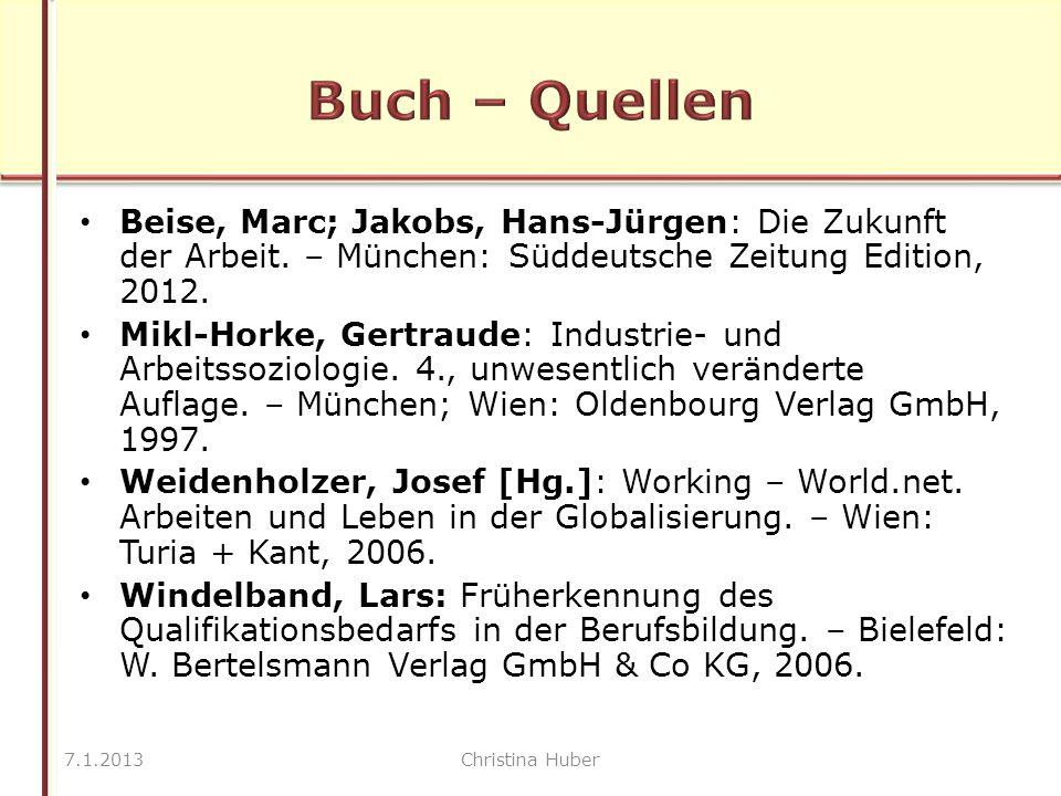 Beise, Marc; Jakobs, Hans-Jürgen: Die Zukunft der Arbeit.