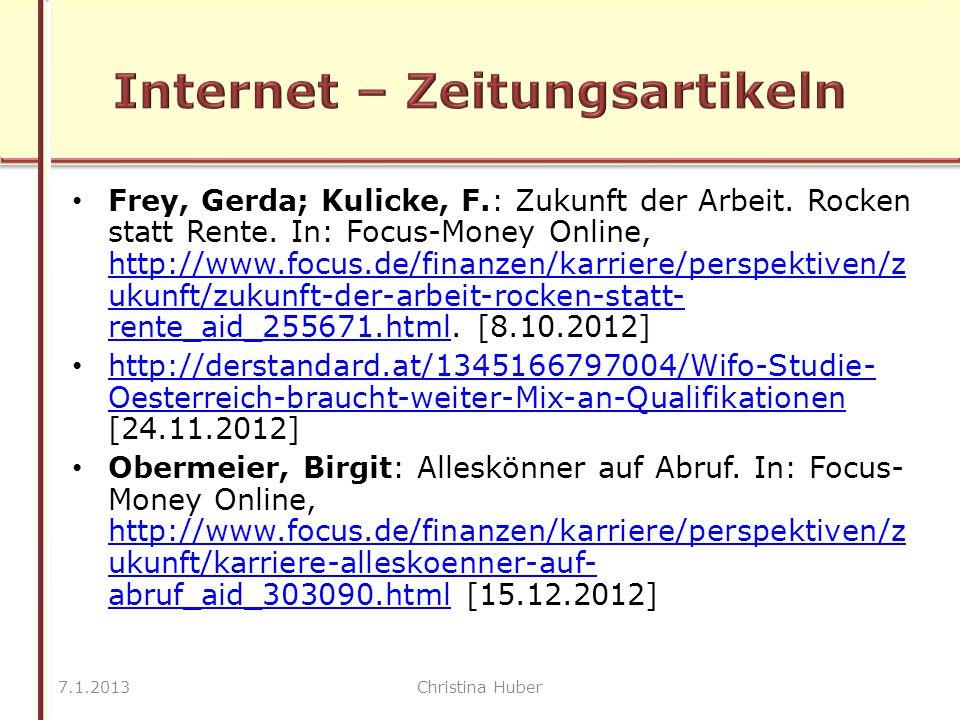 Frey, Gerda; Kulicke, F.: Zukunft der Arbeit. Rocken statt Rente.