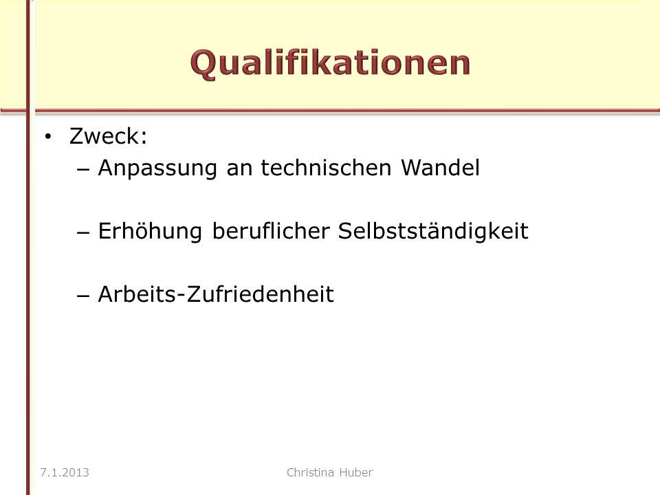 Zweck: – Anpassung an technischen Wandel – Erhöhung beruflicher Selbstständigkeit – Arbeits-Zufriedenheit 7.1.2013Christina Huber