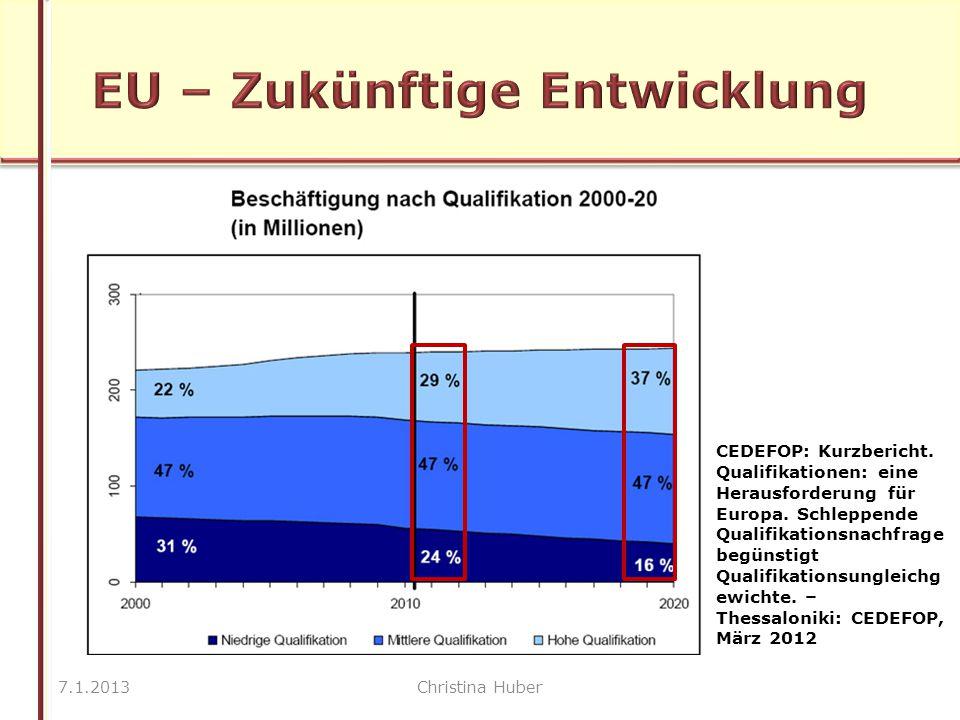 7.1.2013Christina Huber CEDEFOP: Kurzbericht. Qualifikationen: eine Herausforderung für Europa.