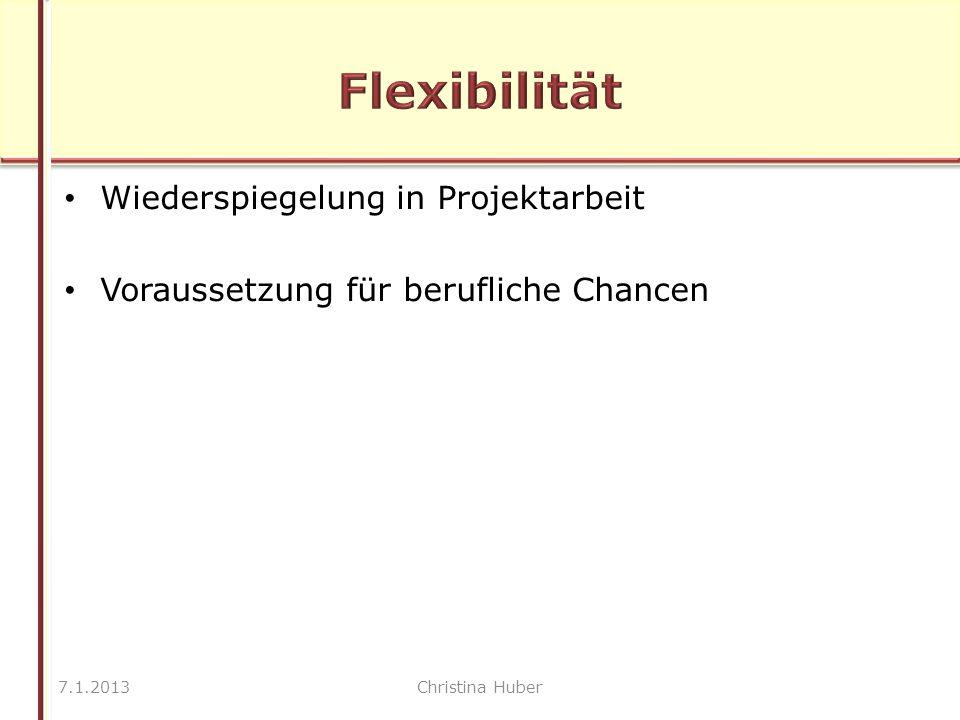 Wiederspiegelung in Projektarbeit Voraussetzung für berufliche Chancen 7.1.2013Christina Huber