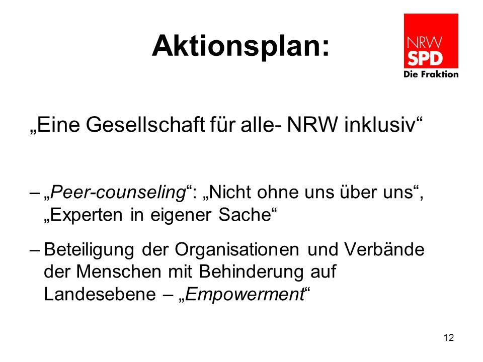 """Aktionsplan: """"Eine Gesellschaft für alle- NRW inklusiv"""" –""""Peer-counseling"""": """"Nicht ohne uns über uns"""", """"Experten in eigener Sache"""" –Beteiligung der Or"""