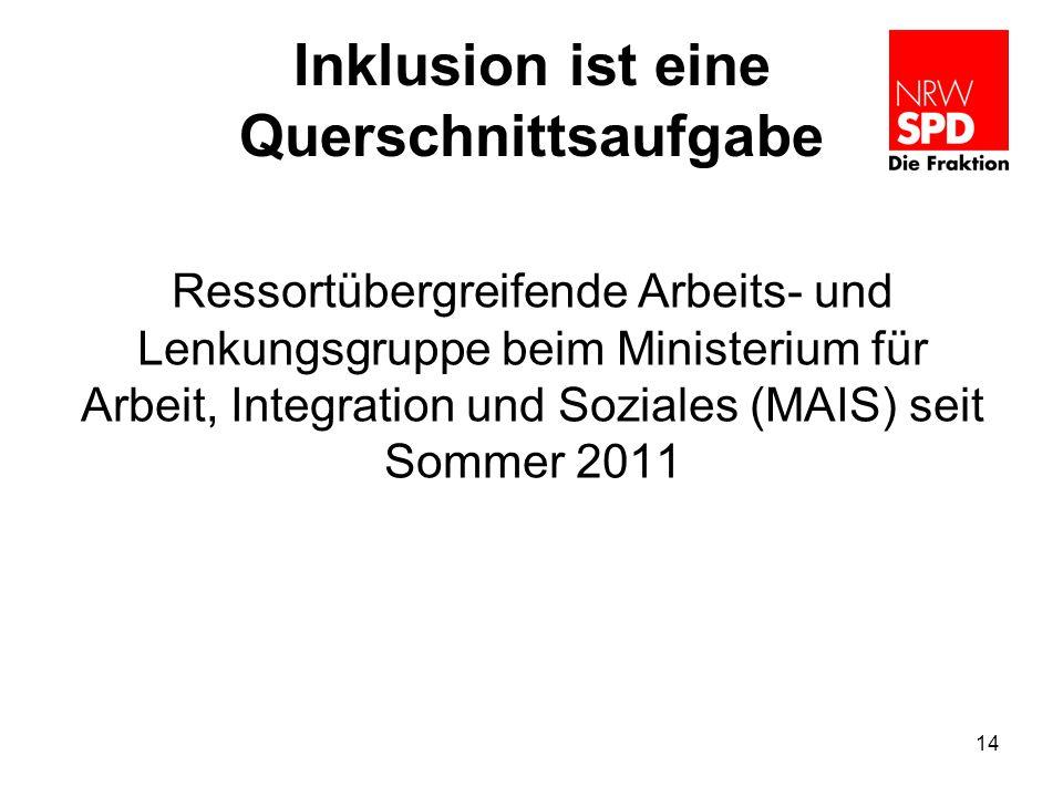 Inklusion ist eine Querschnittsaufgabe Ressortübergreifende Arbeits- und Lenkungsgruppe beim Ministerium für Arbeit, Integration und Soziales (MAIS) s