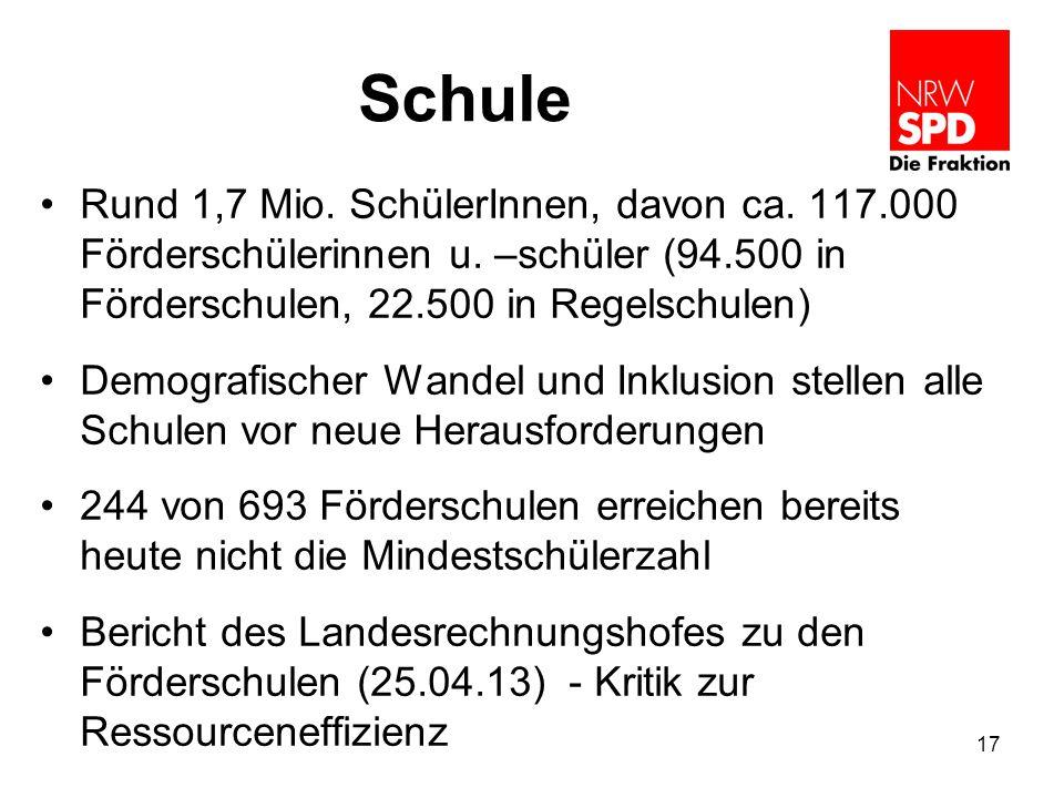 Schule Rund 1,7 Mio. SchülerInnen, davon ca. 117.000 Förderschülerinnen u. –schüler (94.500 in Förderschulen, 22.500 in Regelschulen) Demografischer W