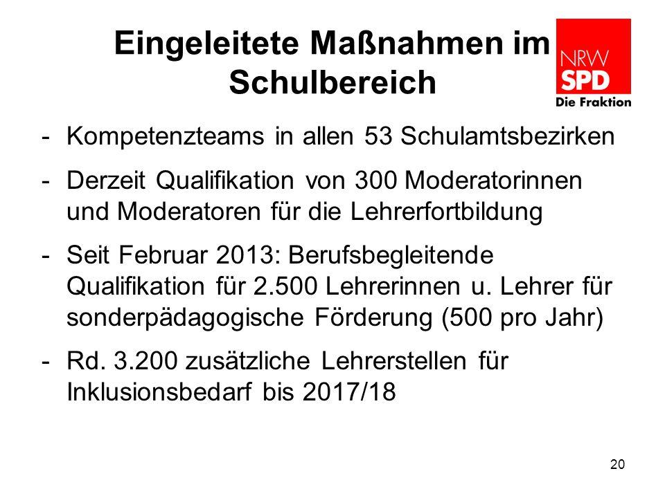 Eingeleitete Maßnahmen im Schulbereich -Kompetenzteams in allen 53 Schulamtsbezirken -Derzeit Qualifikation von 300 Moderatorinnen und Moderatoren für