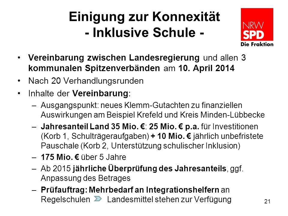 Einigung zur Konnexität - Inklusive Schule - Vereinbarung zwischen Landesregierung und allen 3 kommunalen Spitzenverbänden am 10. April 2014 Nach 20 V
