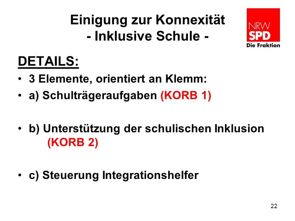 Einigung zur Konnexität - Inklusive Schule - DETAILS: 3 Elemente, orientiert an Klemm: a) Schulträgeraufgaben (KORB 1) b) Unterstützung der schulische