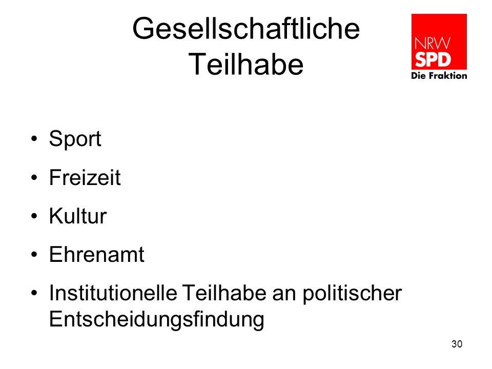 Gesellschaftliche Teilhabe Sport Freizeit Kultur Ehrenamt Institutionelle Teilhabe an politischer Entscheidungsfindung 30
