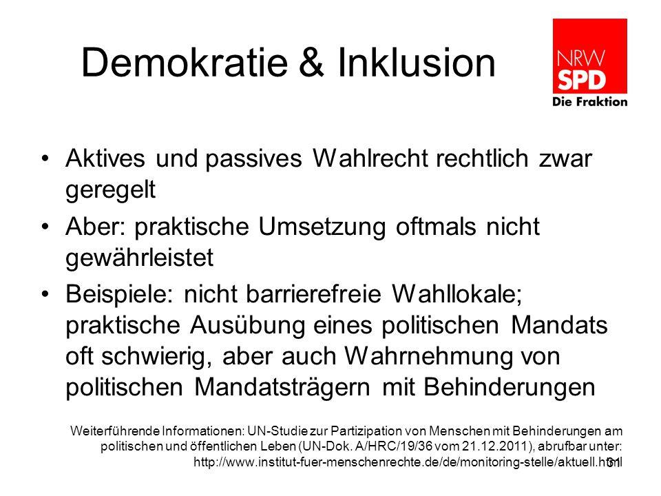 Demokratie & Inklusion Aktives und passives Wahlrecht rechtlich zwar geregelt Aber: praktische Umsetzung oftmals nicht gewährleistet Beispiele: nicht