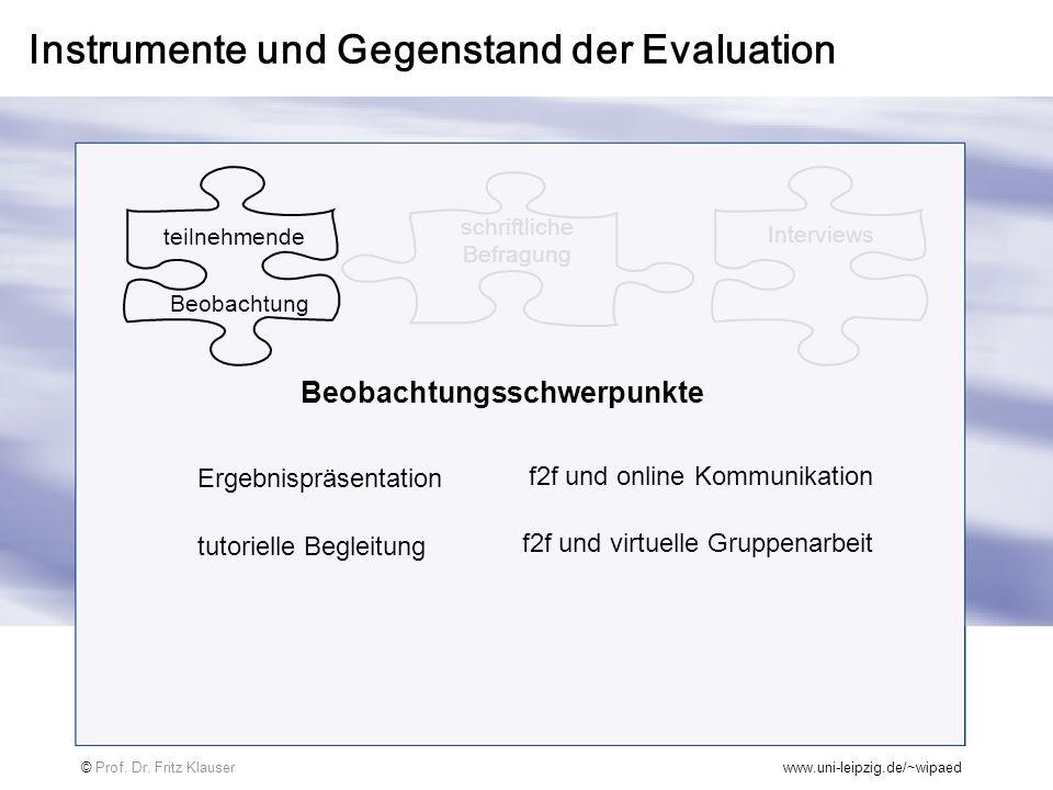 Instrumente und Gegenstand der Evaluation © Prof. Dr. Fritz Klauserwww.uni-leipzig.de/~wipaed schriftliche Befragung Beobachtung teilnehmende Intervie