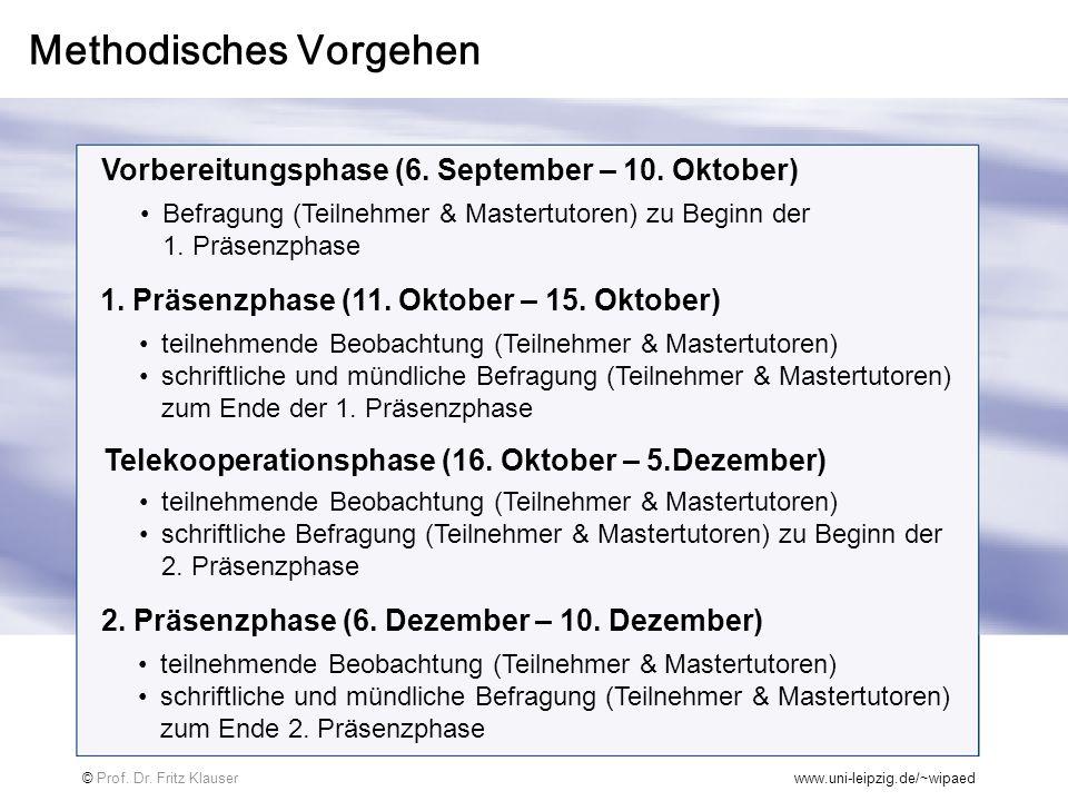 Methodisches Vorgehen Vorbereitungsphase (6. September – 10. Oktober) 1. Präsenzphase (11. Oktober – 15. Oktober) Telekooperationsphase (16. Oktober –