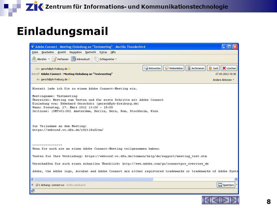 Zentrum für Informations- und Kommunikationstechnologie 8 Einladungsmail