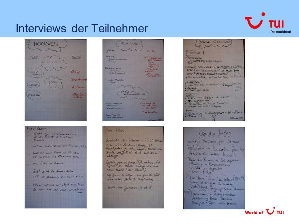 Deutschland Interviews der Teilnehmer