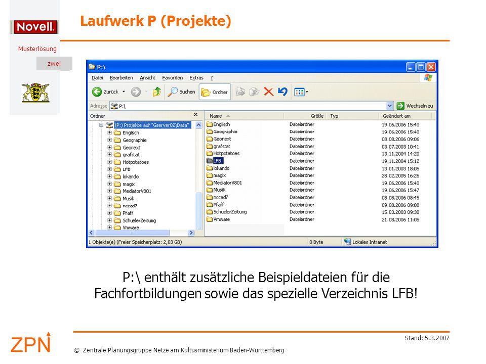 © Zentrale Planungsgruppe Netze am Kultusministerium Baden-Württemberg Musterlösung zwei Stand: 5.3.2007 Laufwerk P (Projekte) P:\ enthält zusätzliche Beispieldateien für die Fachfortbildungen sowie das spezielle Verzeichnis LFB!