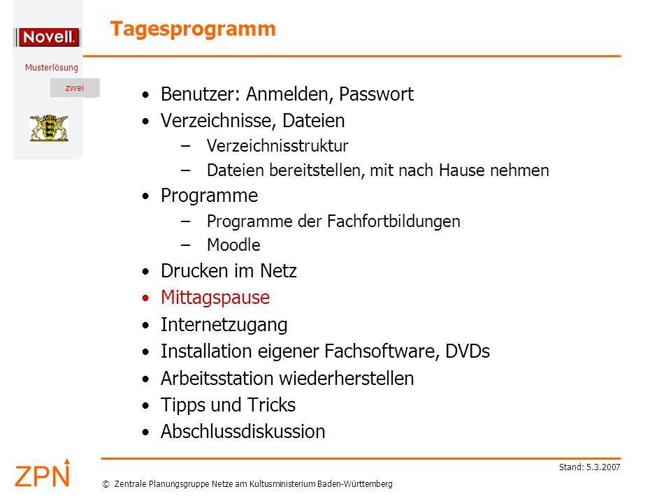 © Zentrale Planungsgruppe Netze am Kultusministerium Baden-Württemberg Musterlösung zwei Stand: 5.3.2007 Programme – Offizielle Software der Lehrerfortbildung – Moodle (lokale XAMPP-Umgebung) – Eigene Software – multimediale DVDs