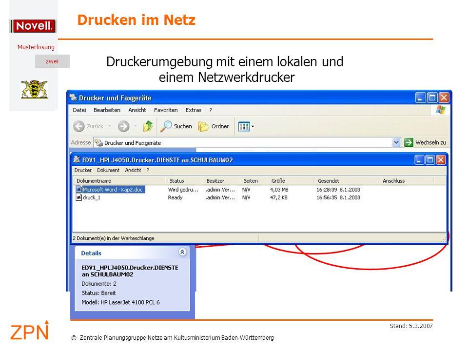 © Zentrale Planungsgruppe Netze am Kultusministerium Baden-Württemberg Musterlösung zwei Stand: 5.3.2007 Drucken im Netz Druckerumgebung mit einem lokalen und einem Netzwerkdrucker Hier klicken Hier klicken für weitere Details