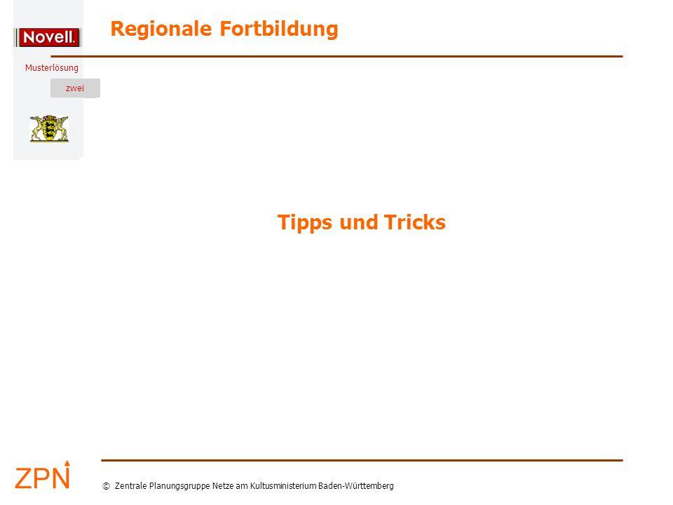 Musterlösung Regionale Fortbildung © Zentrale Planungsgruppe Netze am Kultusministerium Baden-Württemberg Musterlösung zwei Tipps und Tricks