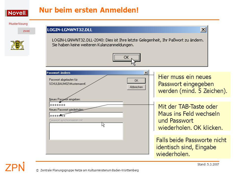 © Zentrale Planungsgruppe Netze am Kultusministerium Baden-Württemberg Musterlösung zwei Stand: 5.3.2007 Teilnehmer hat Passwort vergessen Über den NAL (Novell Application Launcher) wird das Programm BPass gestartet: