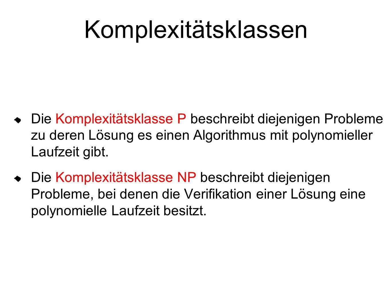 Komplexitätsklassen Die Komplexitätsklasse P beschreibt diejenigen Probleme zu deren Lösung es einen Algorithmus mit polynomieller Laufzeit gibt. Die