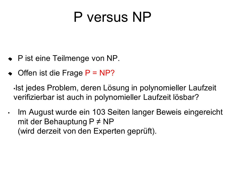 P versus NP P ist eine Teilmenge von NP. Offen ist die Frage P = NP? Ist jedes Problem, deren Lösung in polynomieller Laufzeit verifizierbar ist auch