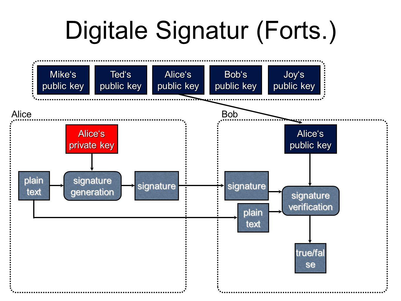 Digitale Signatur (Forts.) Mike's public key Ted's Alice's Bob's Joy's plaintextsignature Alice's true/fal se plaintext Alice's private key AliceBob s