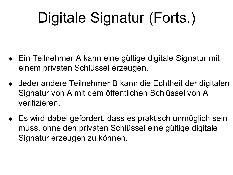 Digitale Signatur (Forts.) Ein Teilnehmer A kann eine gültige digitale Signatur mit einem privaten Schlüssel erzeugen. Jeder andere Teilnehmer B kann