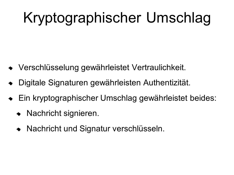 Kryptographischer Umschlag Verschlüsselung gewährleistet Vertraulichkeit. Digitale Signaturen gewährleisten Authentizität. Ein kryptographischer Umsch