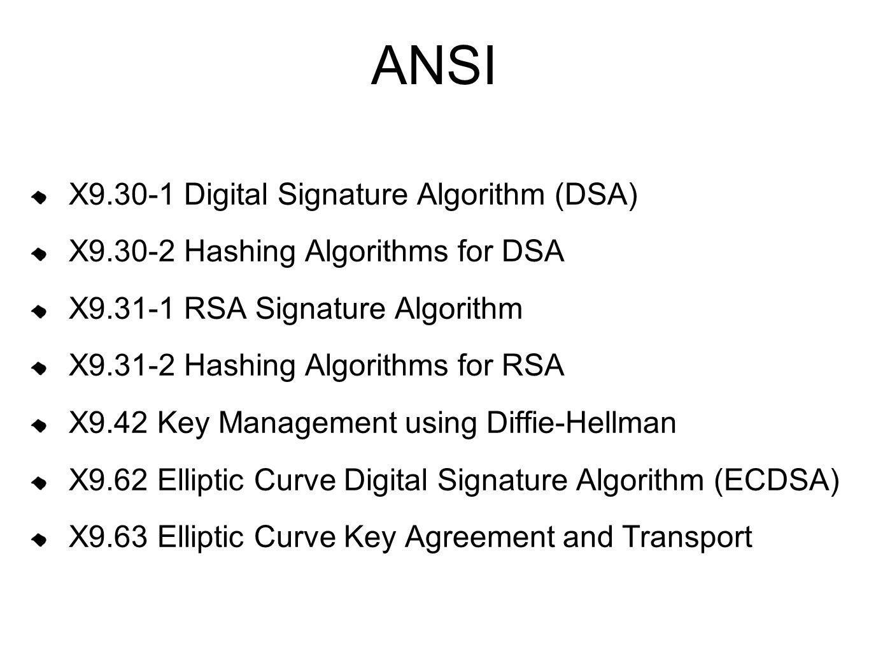 ANSI X9.30-1 Digital Signature Algorithm (DSA) X9.30-2 Hashing Algorithms for DSA X9.31-1 RSA Signature Algorithm X9.31-2 Hashing Algorithms for RSA X