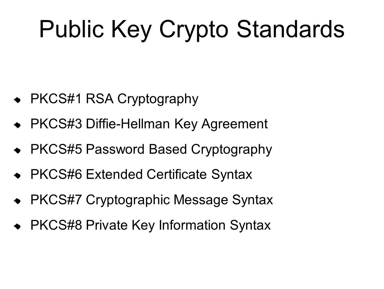 Public Key Crypto Standards PKCS#1 RSA Cryptography PKCS#3 Diffie-Hellman Key Agreement PKCS#5 Password Based Cryptography PKCS#6 Extended Certificate
