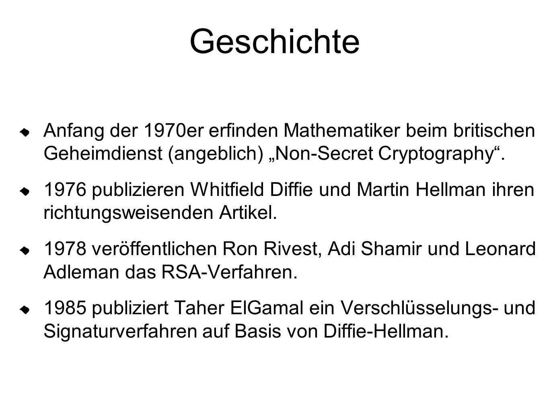 """Geschichte Anfang der 1970er erfinden Mathematiker beim britischen Geheimdienst (angeblich) """"Non-Secret Cryptography"""". 1976 publizieren Whitfield Diff"""