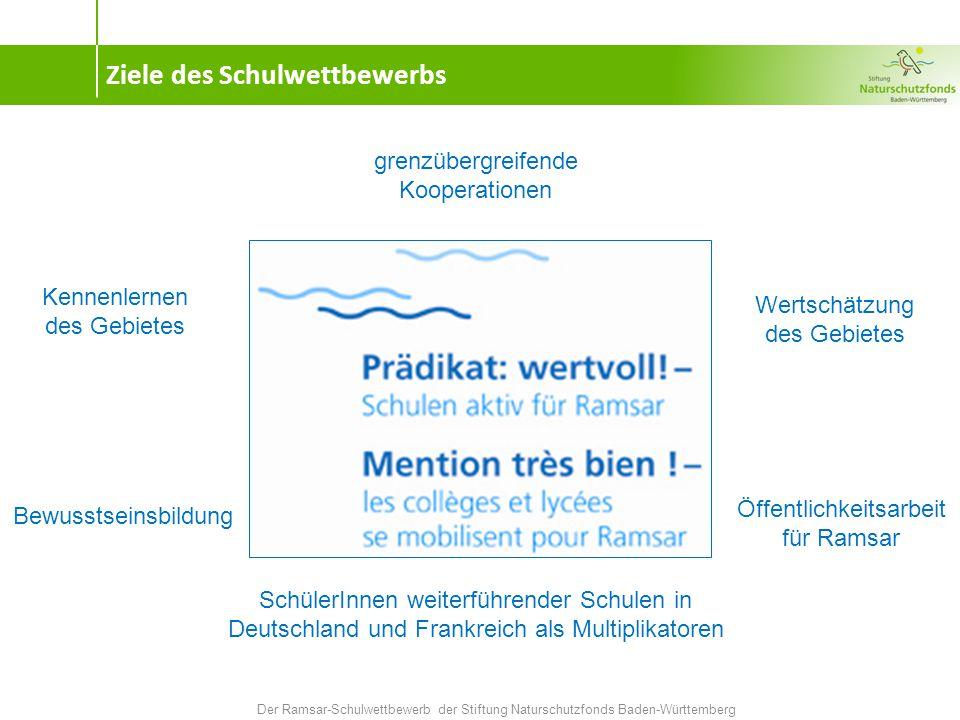 Ziele des Schulwettbewerbs Der Ramsar-Schulwettbewerb der Stiftung Naturschutzfonds Baden-Württemberg Kennenlernen des Gebietes grenzübergreifende Kooperationen Bewusstseinsbildung Wertschätzung des Gebietes SchülerInnen weiterführender Schulen in Deutschland und Frankreich als Multiplikatoren Öffentlichkeitsarbeit für Ramsar